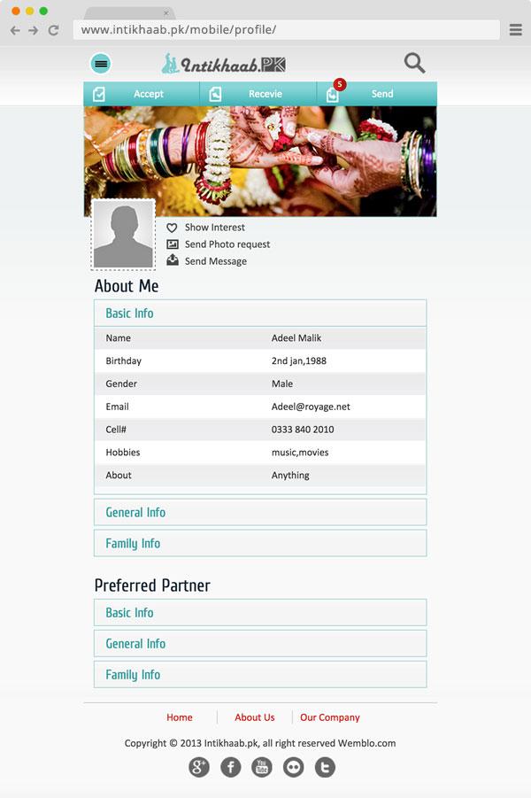Intikhaab Mobile Profile
